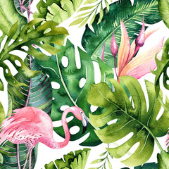 Fototapeta Do sypialni Tropical isolated seamless pattern with flamingo. Watercolor tropic drawing, rose bird and greenery palm tree, tropic green texture, exotic flower. Aloha set