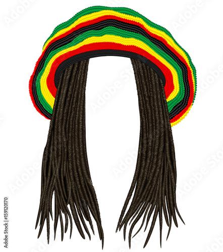 Fotografie, Obraz Jamaican rasta hat.Hair dreadlocks.reggae .funny avatar
