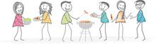 Des Voisins Ou Amis Organisent Un Barbecue Pour Un Repas Sympa Dans Un Jardin