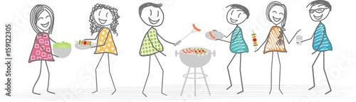 Des voisins ou amis organisent un barbecue pour un repas sympa dans un jardin Wallpaper Mural