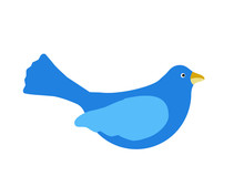 Blue Bird Vector Isolated On White Background
