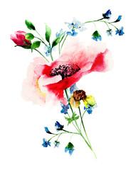 Obraz na PlexiStylized spring flowers