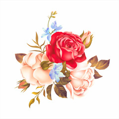 Fototapeta Róże Bouquet with white and red roses on white background. Vector illustration.