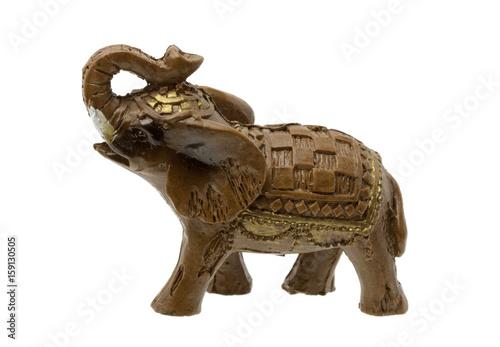 Brown Elephant Figurine on white Background