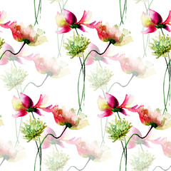 Fototapeta Seamless wallpaper with Decorative wild flowers
