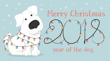 New 2018, A Horizontal Card. The Chinese Year Of The Yellow Dog. Greetings With Funny White Dog And Christmas Lights. Colorful Vector Illustration In Cartoon Style.