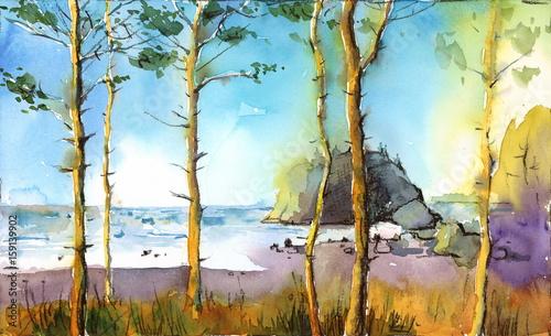 Akwareli Plażowa Seascape krajobrazu drzew oceanu ręka Malująca ilustracja