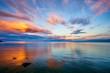 canvas print picture - Orange Sunset Lake Superior Minnesota