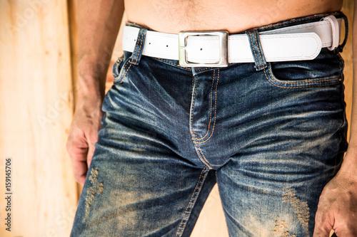Photo  Man in blue denim standing