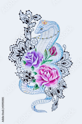 Printed kitchen splashbacks Watercolor skull Sketch of a beautiful snake with flowers on a white background.