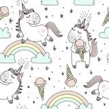 Fototapeta Fototapety na ścianę do pokoju dziecięcego - Vector pattern with cute unicorns, clouds,rainbow and stars. Magic background with little unicorns.