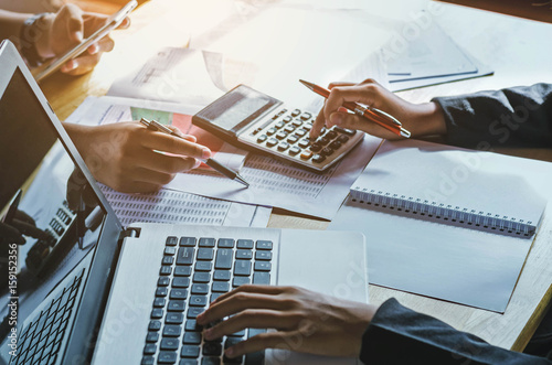Photo teamwork  business woman accounting concept financial in office