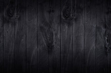 Noir Elegance Black Wooden Board Background. Wood Texture.
