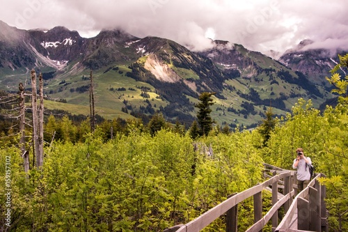 Naturfotograf auf Holzsteg im Naturschutzgebiet mit Gantrisch im Hintergrund Canvas Print