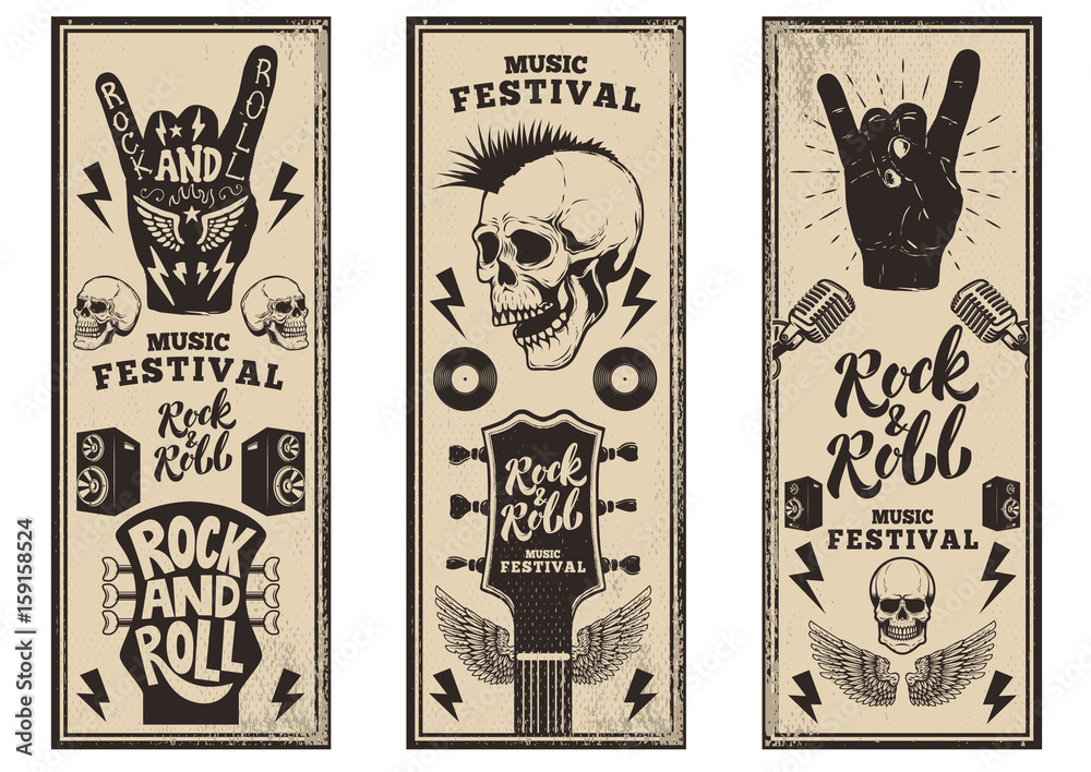 Fototapety, obrazy: Rock and roll party flyers template. Vintage guitars, punk skull, rock and roll sign on grunge background. Vector illustration