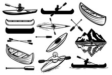Set Of The Kayaking Sport Icon...