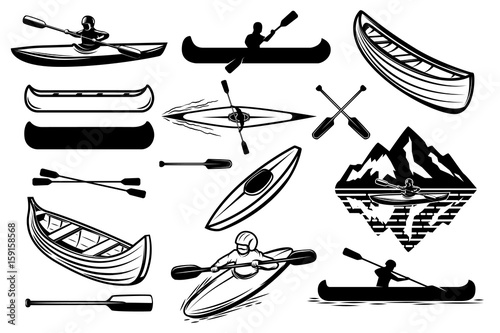 Set of the kayaking sport icons Wallpaper Mural