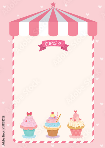 Cute Cupcake Menu Template On Pink Cafe Background