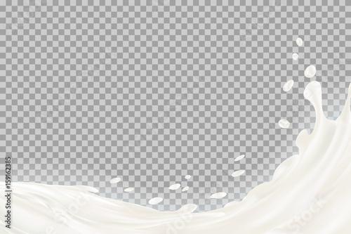 Fényképezés  Milk splash with shadow over transparent background
