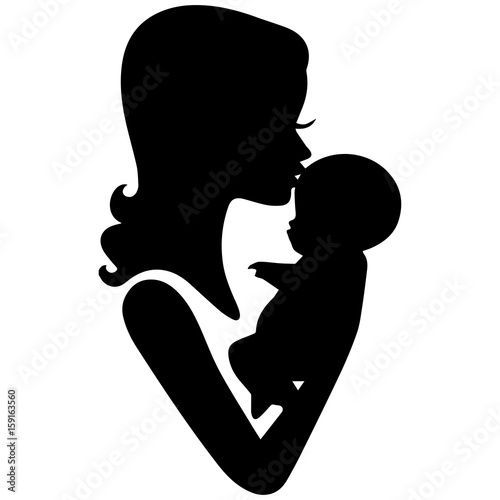 Silhouette Of Mother Kissing Baby Black On A White Background Buy This Stock Illustration And Explore Similar Illustrations At Adobe Stock Adobe Stock