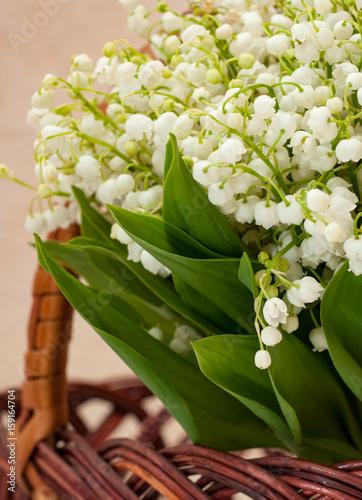 Staande foto Lelietje van dalen Flower lily of the valley closeup in a basket