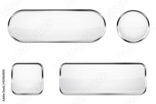 Fotografía  White glass buttons with chrome frame