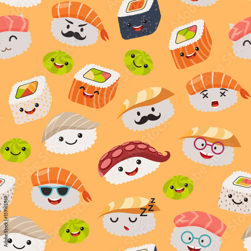 Sushi Emoji Seamless Pattern Cartoon Style Emoticon Kawaii