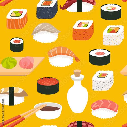 Sushi Vector Seamless Pattern Cartoon Style Hand Draw