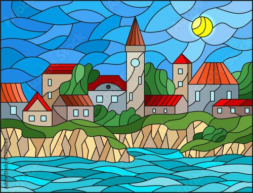 ilustracja-w-stylu-witrazu-z-rzeki-i-miasta-na-tle