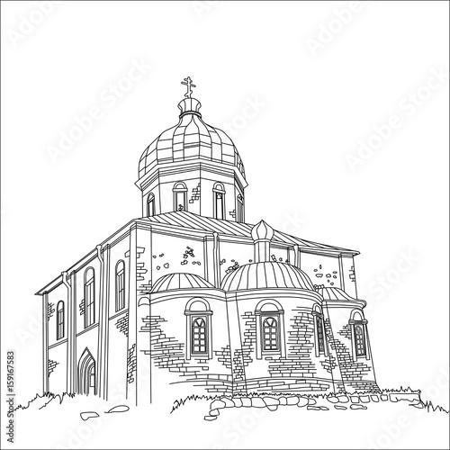 Photo sur Toile Art Studio Cathedral vector hand drawn line art