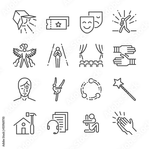 Performance line icon set. Included the icons as mask, mime, stage, concert and more. Fototapete