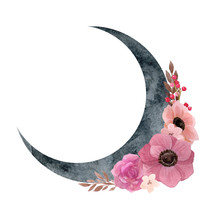 Crescent Moon With Flower Comp...