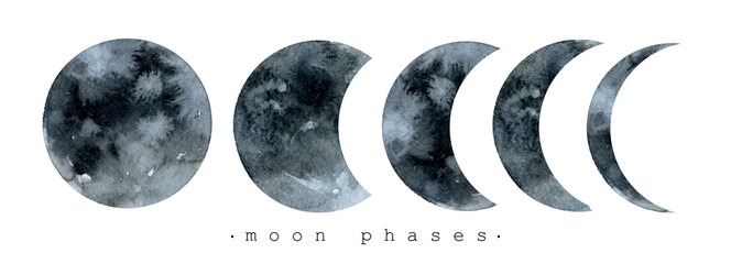 Fototapeta Moon various phases. Trendy watercolor illustration isolated on white background