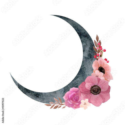 Foto Crescent moon with flower composition