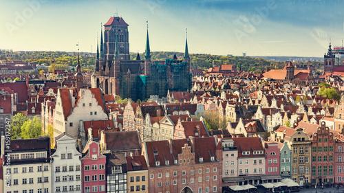 Obraz na płótnie GDAŃSK POLSKA, Maj, - 07 2017: Powietrzny panoramiczny widok Gdański.