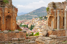 Old Town As Seen From The Stands Of Teatro Greco - Taormina, Sicily, Italy