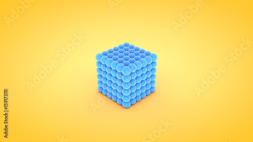 Fotografia, Obraz  Isometric cube atom array illustration, 3D rendering