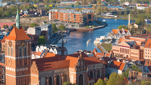 GDANSK, POLAND: Aerial panoramic view of Gdansk.