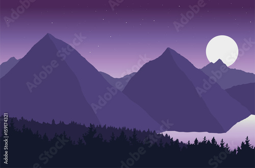 Spoed Foto op Canvas Violet Vector view of mountain landscape with forest and lake under the sky with stars and moon