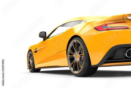 Back of a yellow luxury car isolated on a white background