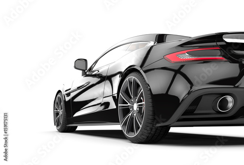 Cuadros en Lienzo Black sport car isolated on a white background