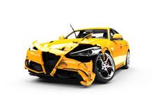 Yellow Car Crash On A White Background
