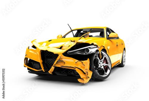 Photo Yellow car crash on a white background