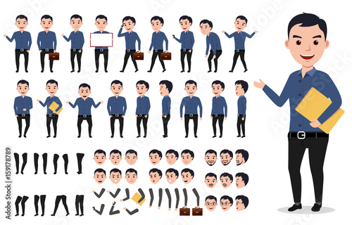 Slika na platnu Businessman or male vector character creation set