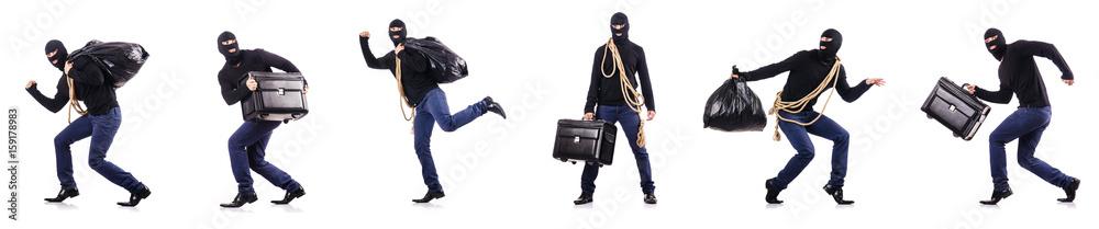 Fototapeta Burglar wearing balaclava isolated on white