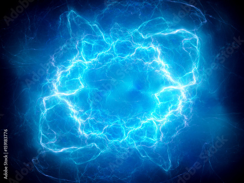 Fotografia  Blue glowing plasma lightning