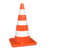 Isolated Orange White Traffic Cone