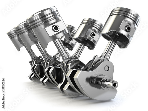 Canvas Print V6 engine pistons and crankshaft isolated on white background.