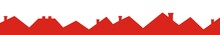 Group Of Roofs With Smokestack, Red Silhouette, Vector Icon