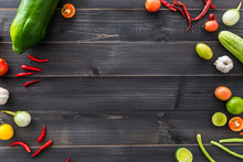 Wood Background With Vegetable...